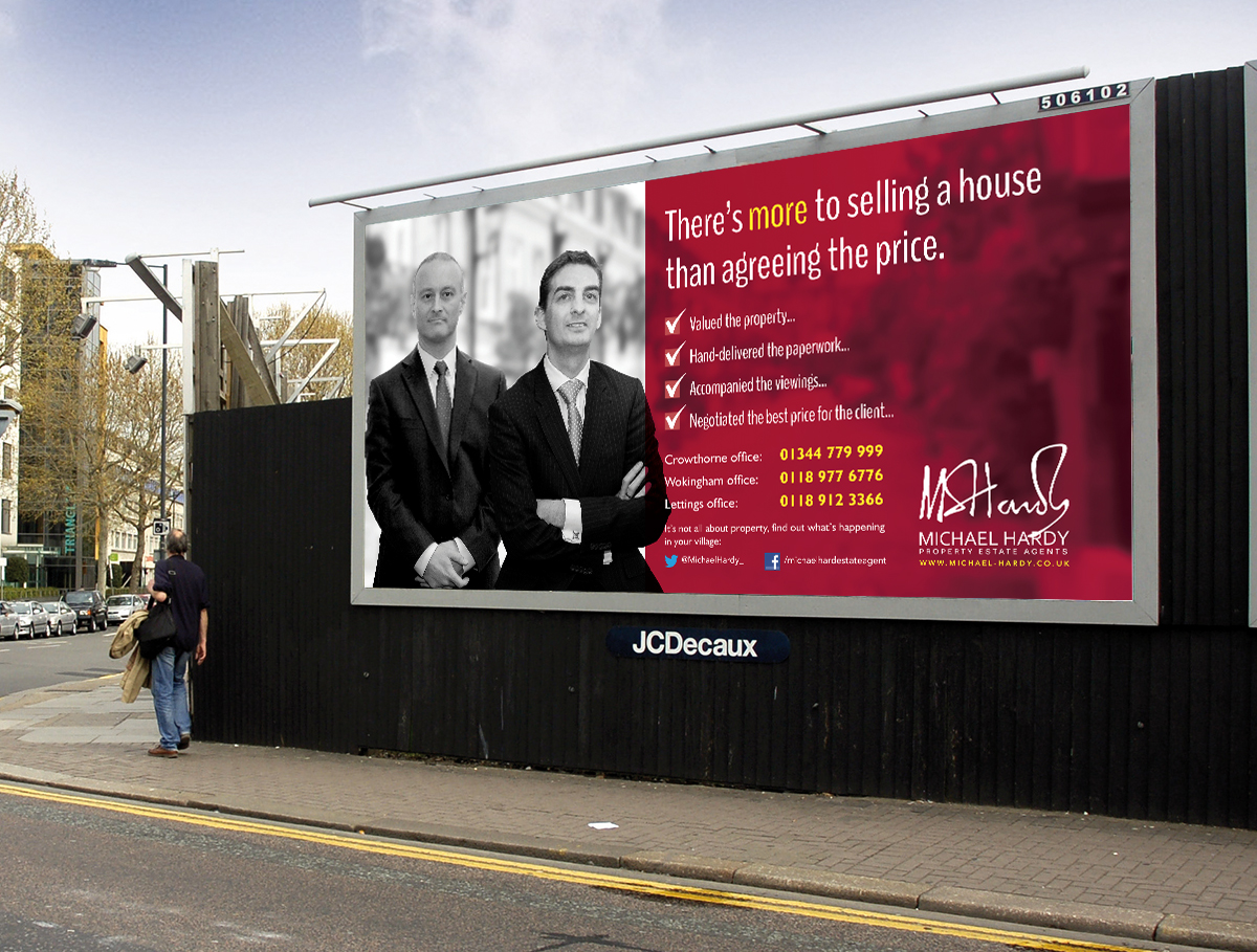 There's More to Selling a House Billboard Advert featuring two of the agents from the Crowthorne Branch