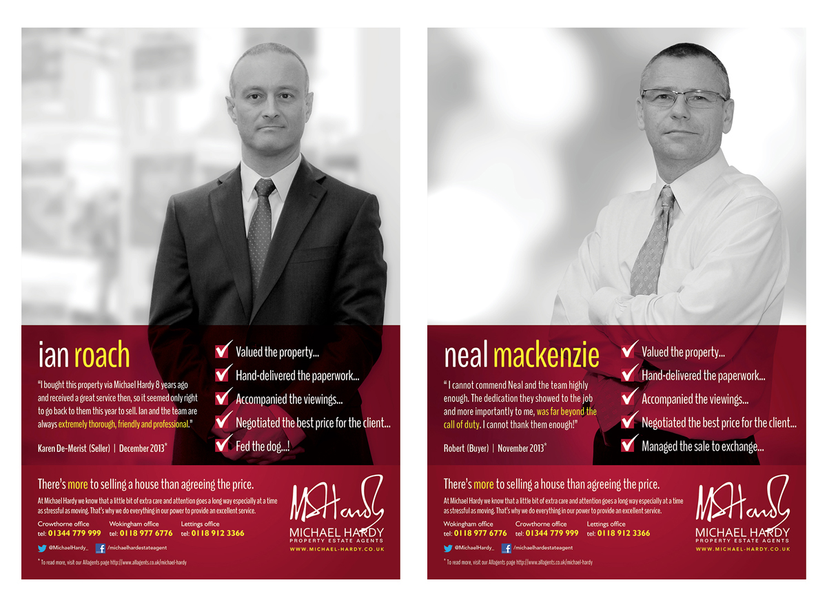 First of around 12 versions of the individual agent adverts, used to introduce members of the Michael Hardy team to the viewer. Can you spot the 'tounge in cheek' reference :) Good old Michael Hardy