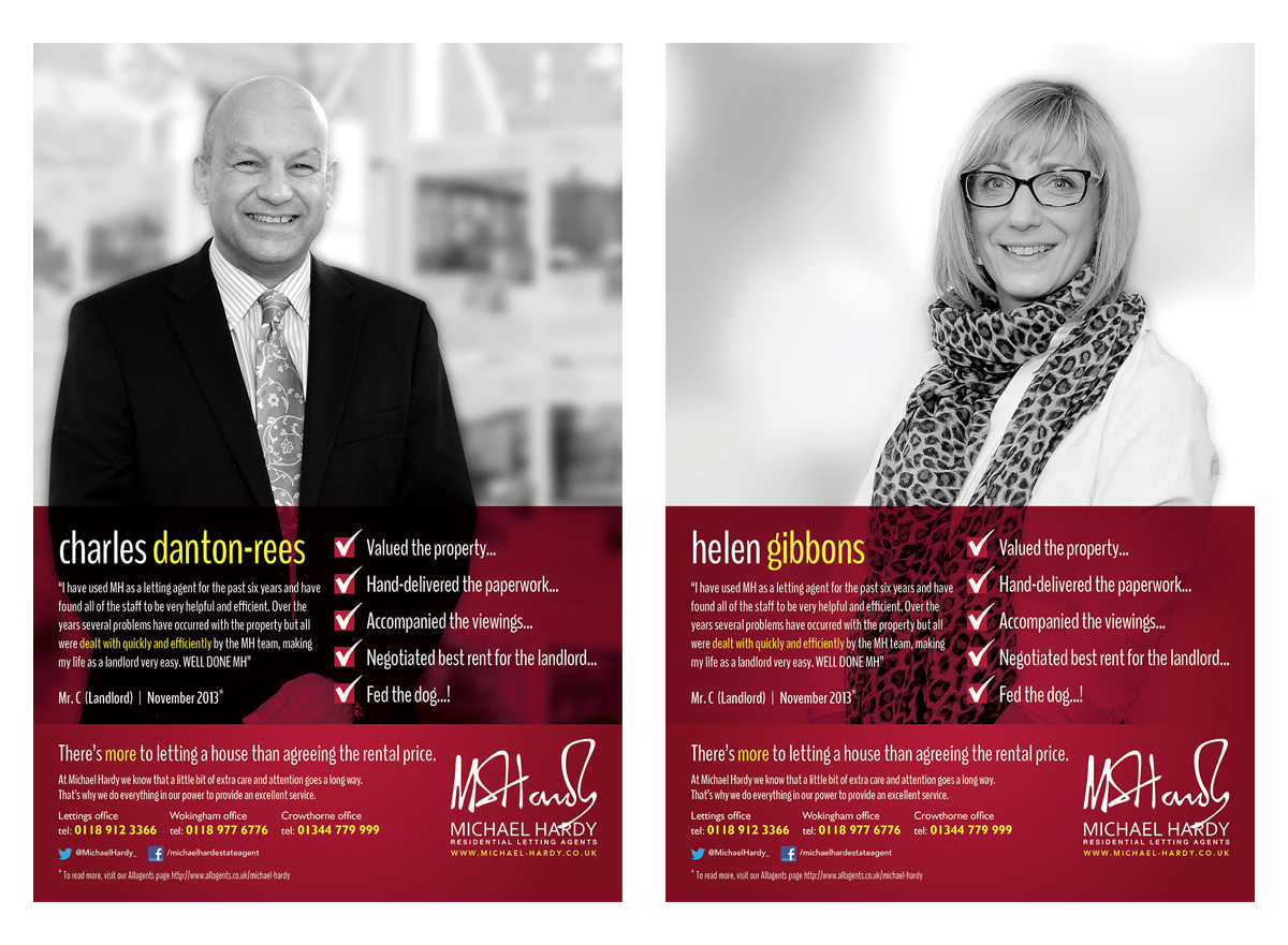 There is also a Lettings department, the next two examples are for them, the only real differences are the logo & strapline