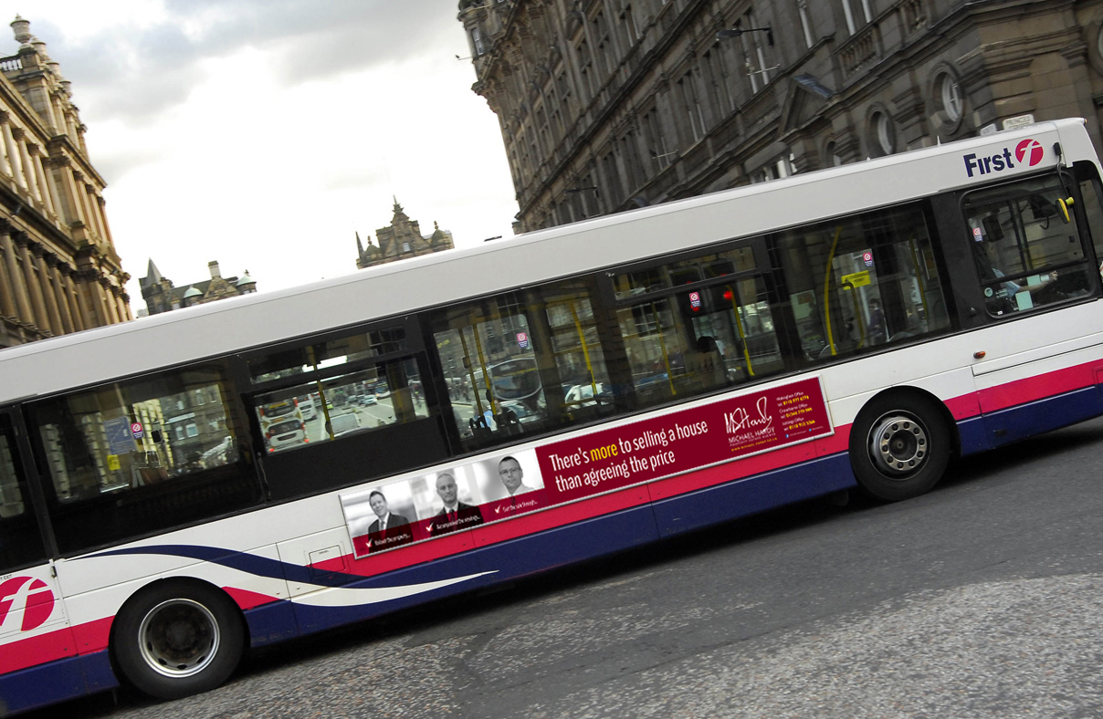 Bus Superside advert using the team member images