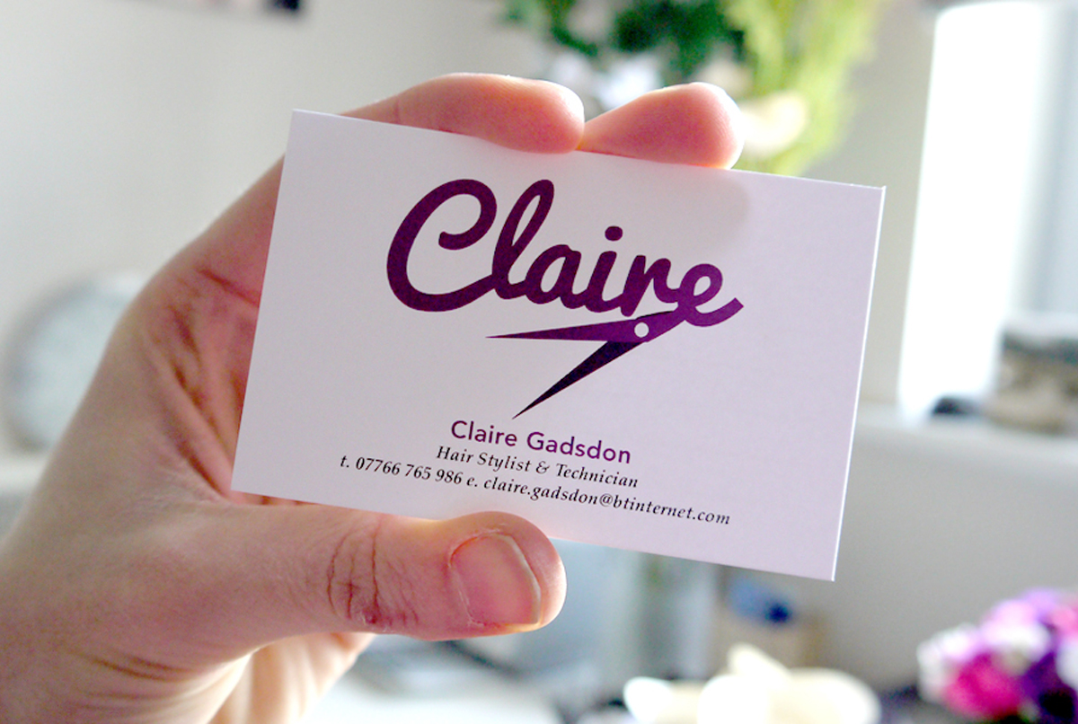 Claire Hairdresser business cards printed on an uncoated stock