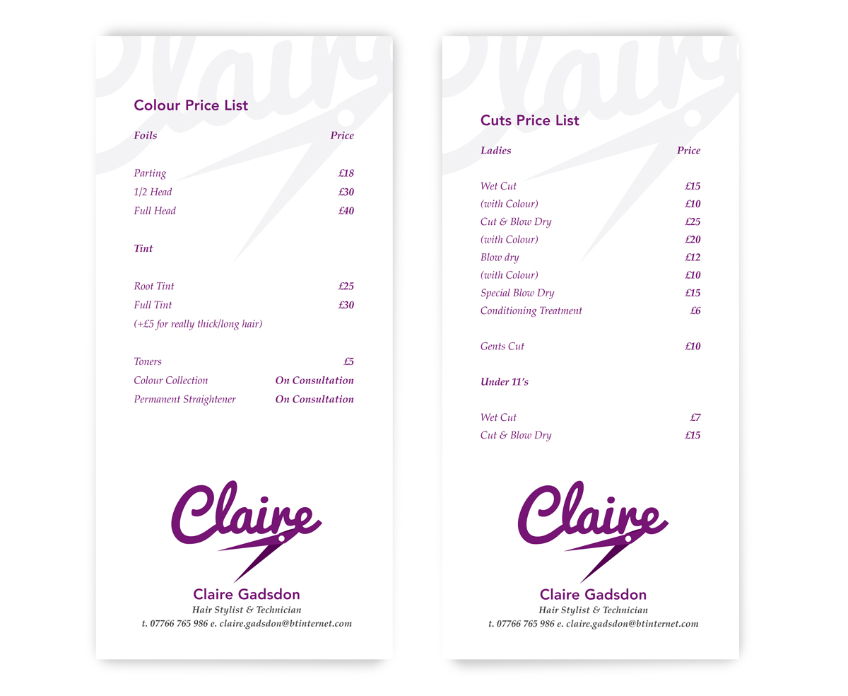Price List designs