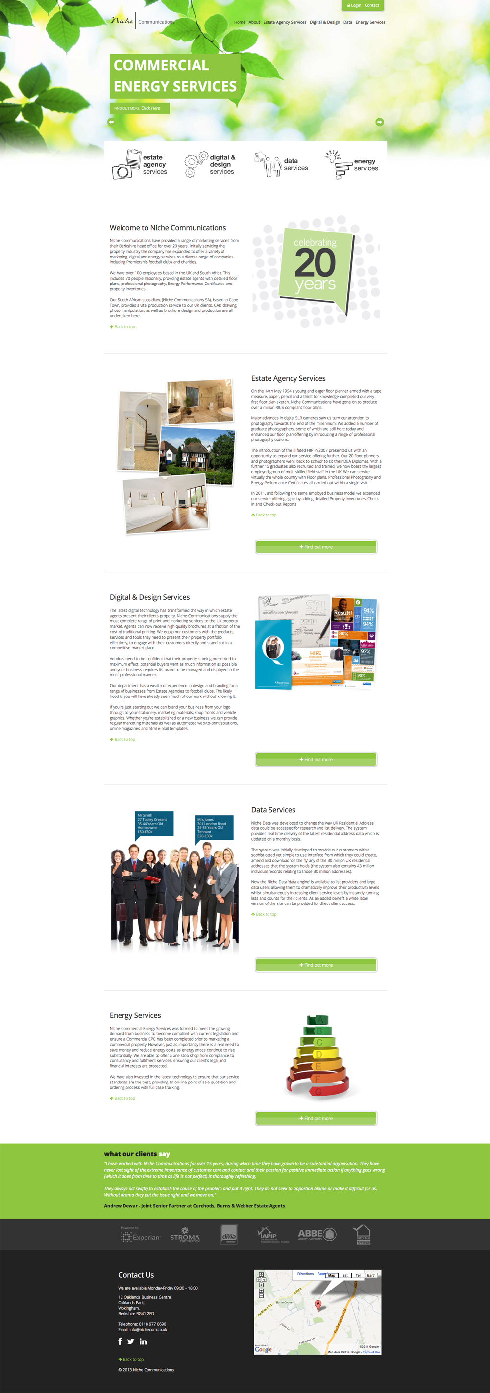 Full length view of the homepage of the desktop version Niche Communications responsive website.