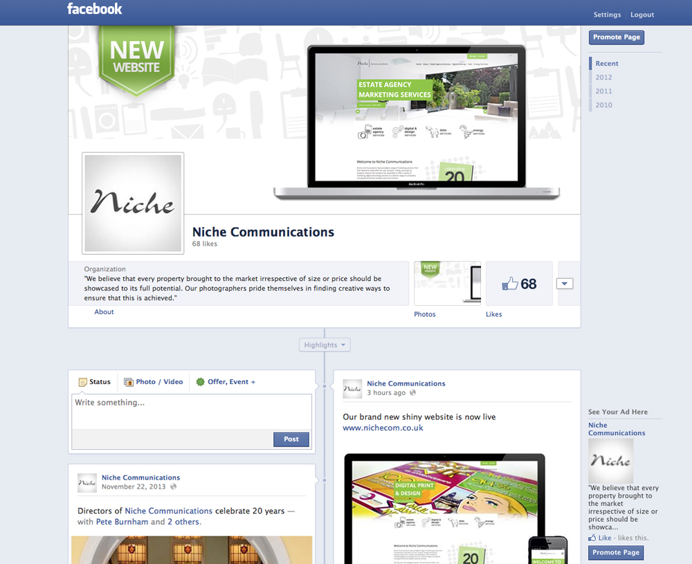 For consistency, new Facebook graphics have also been created to fit within the new website style.