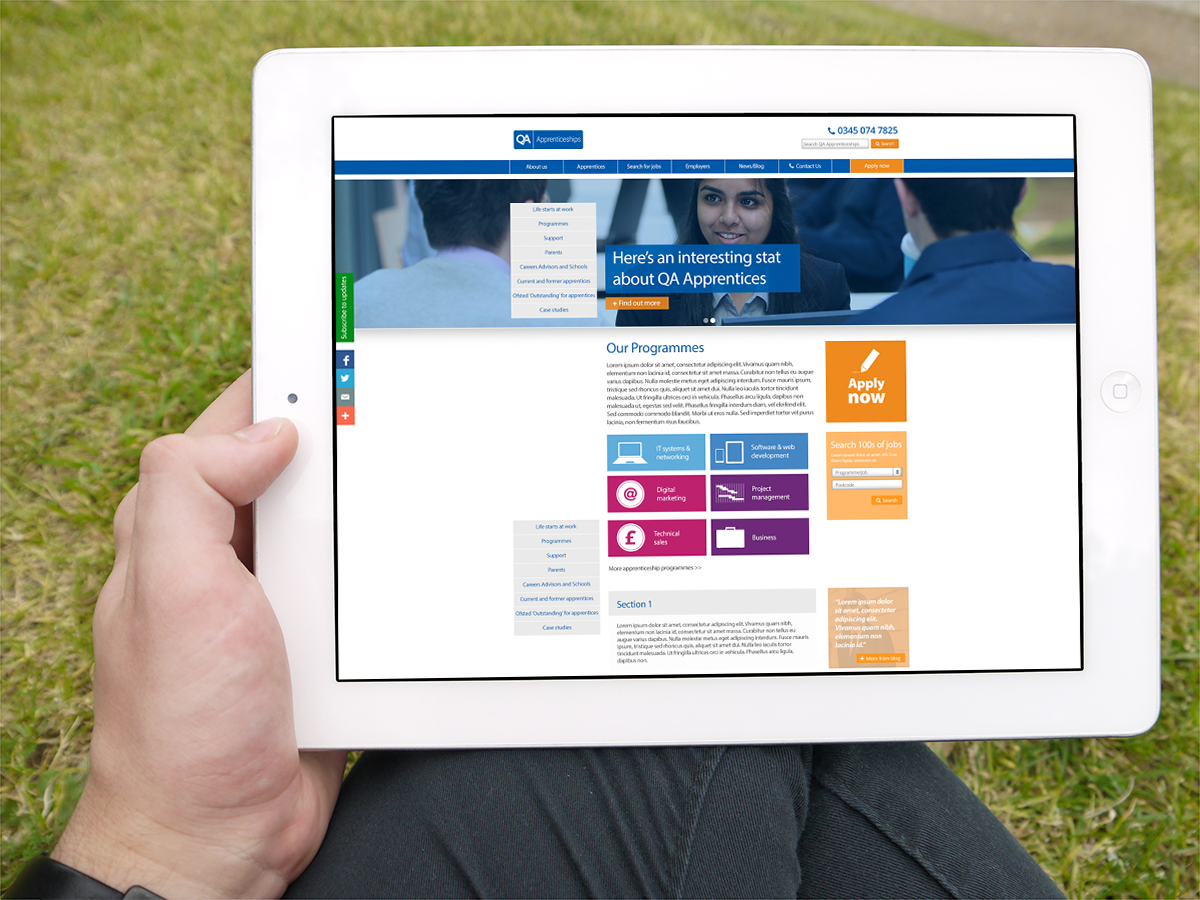 Viewing new QA Apprenticeships the site on an iPad