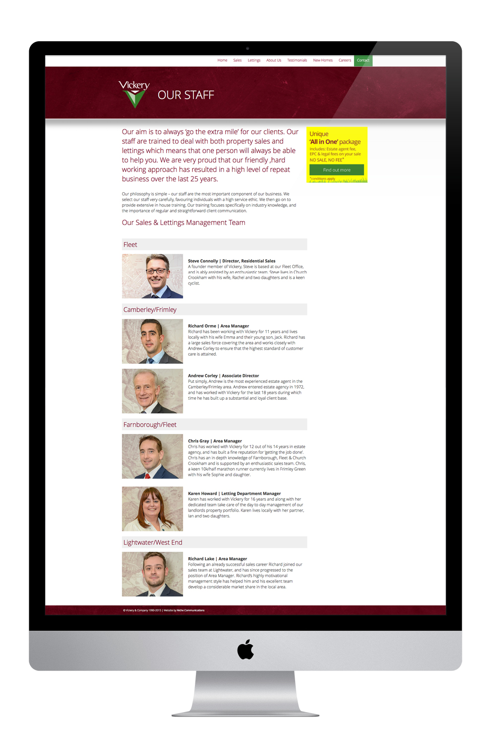 Full page view of the team - photography taken specifically for the site as well.