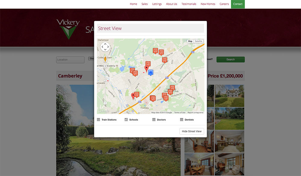A pop up window shows the local area and amenities.