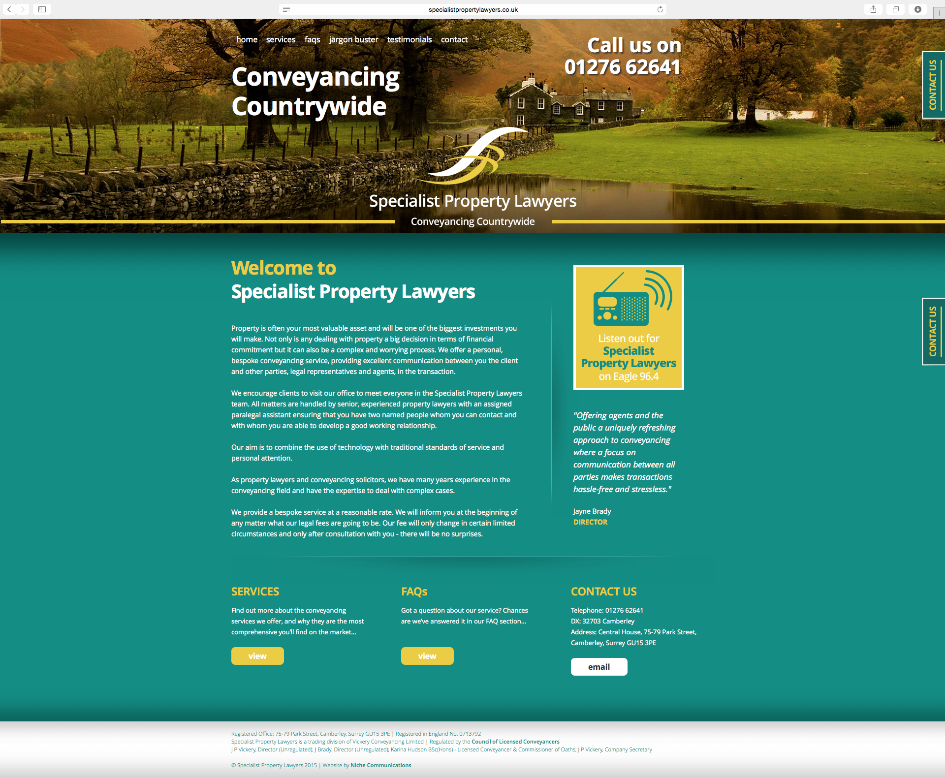 Specialist Property Lawyers Website full Homepage view