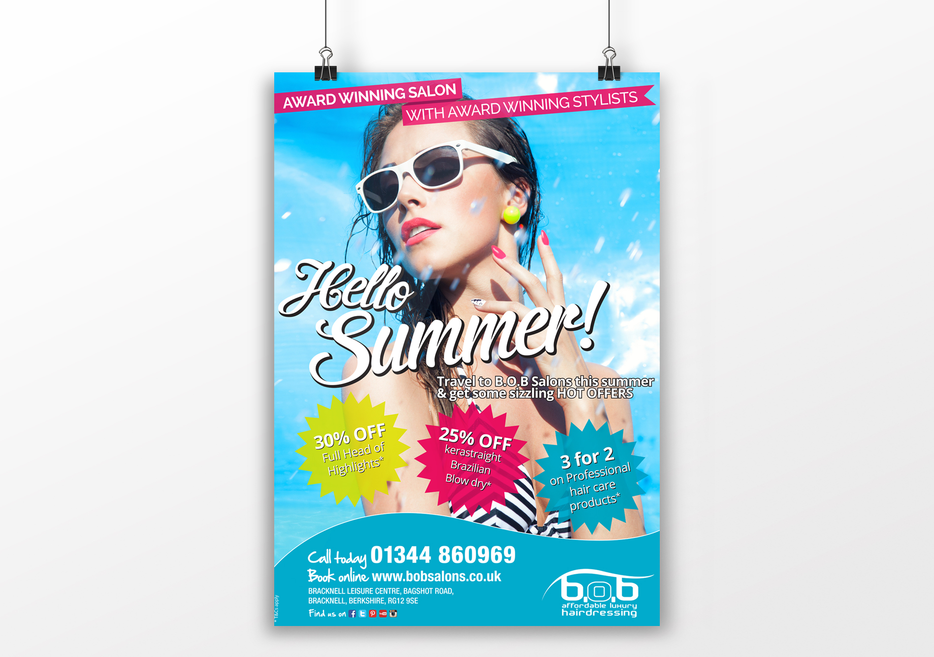 Hello Summer A1 Poster for BOB Salons.