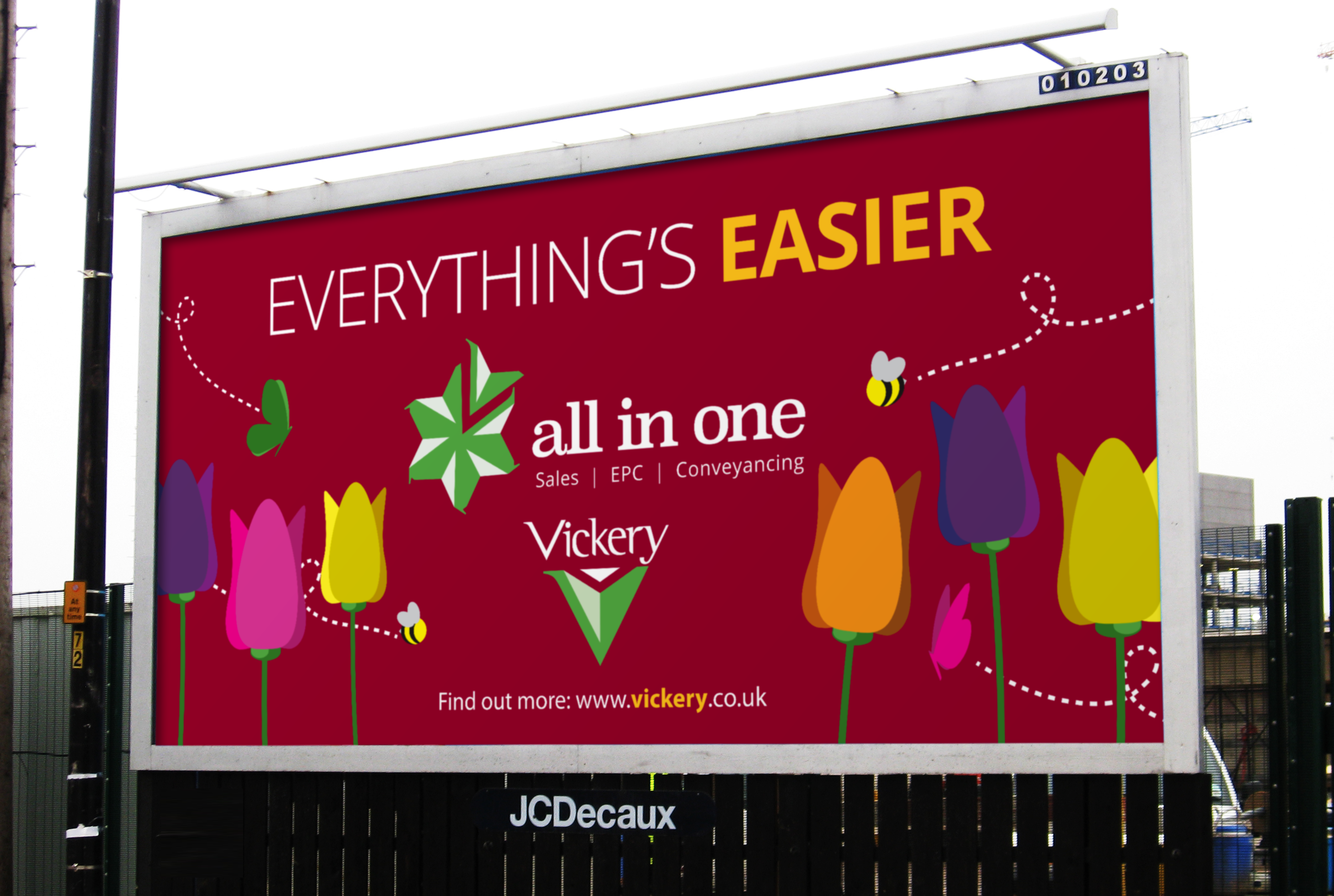 Billboard (displayed in Fleet) promoting the All in One Service from Vickery