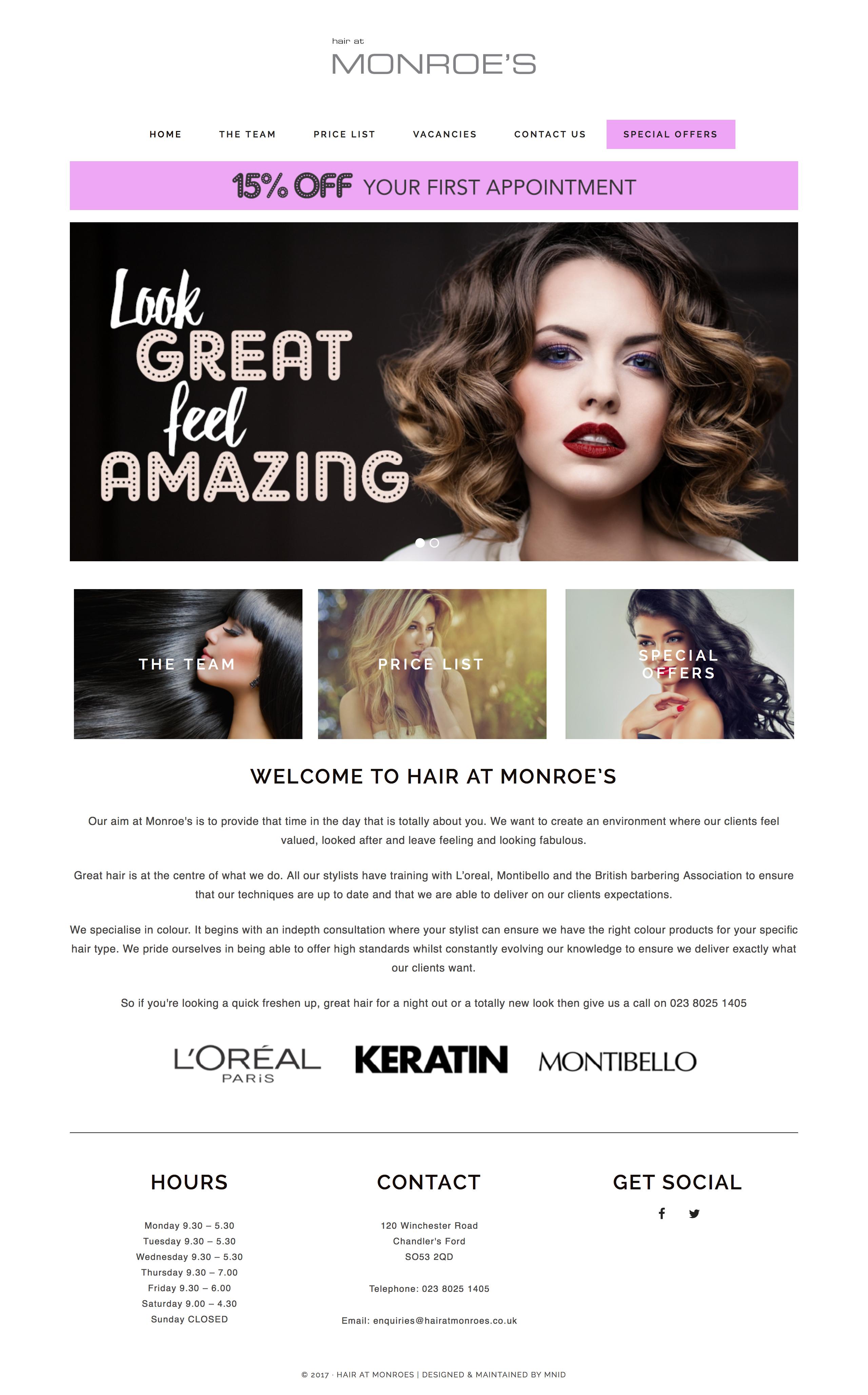 Hair at Monroe's full website homepage design
