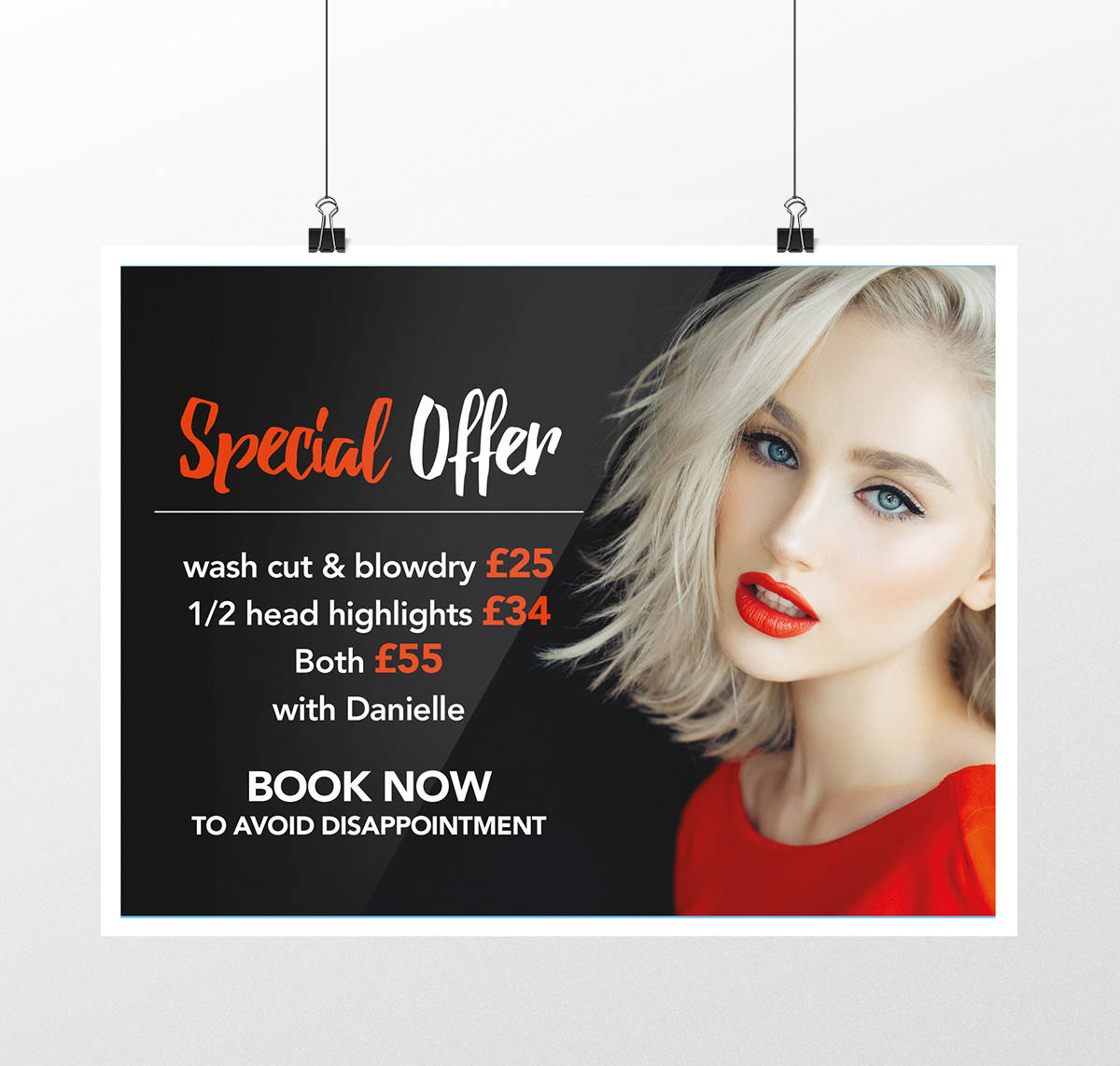 Hair at Monroe's special offer poster design