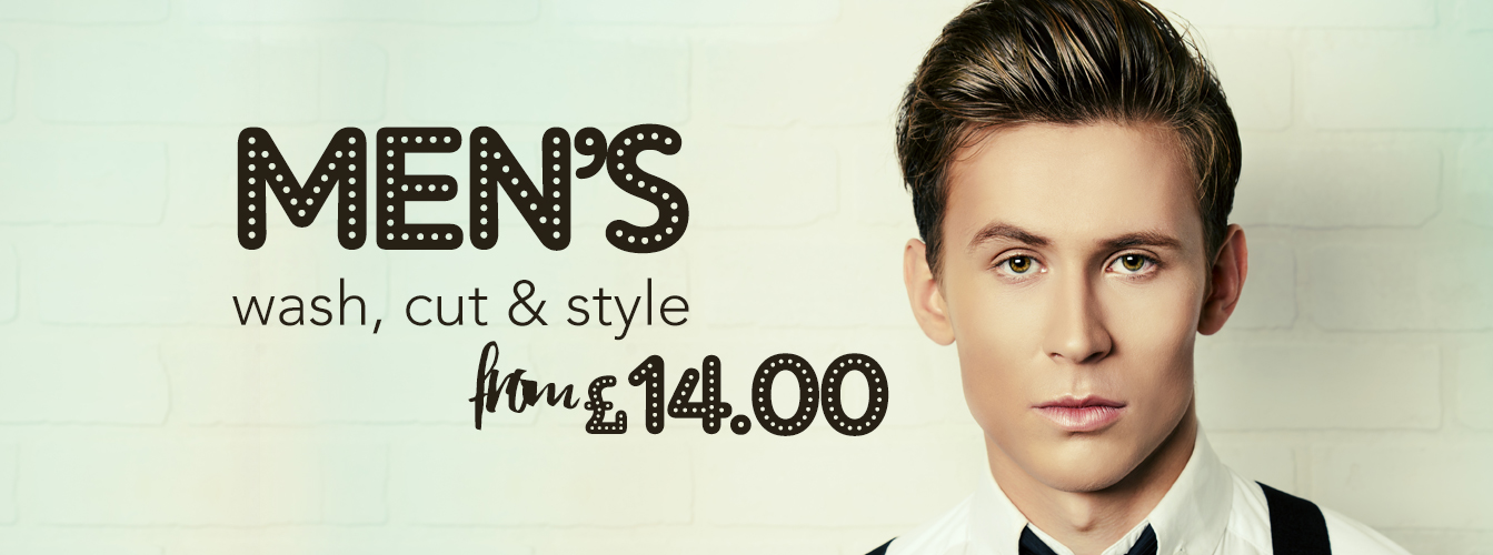 Hair at Monroe's website banner design for Men's Cuts