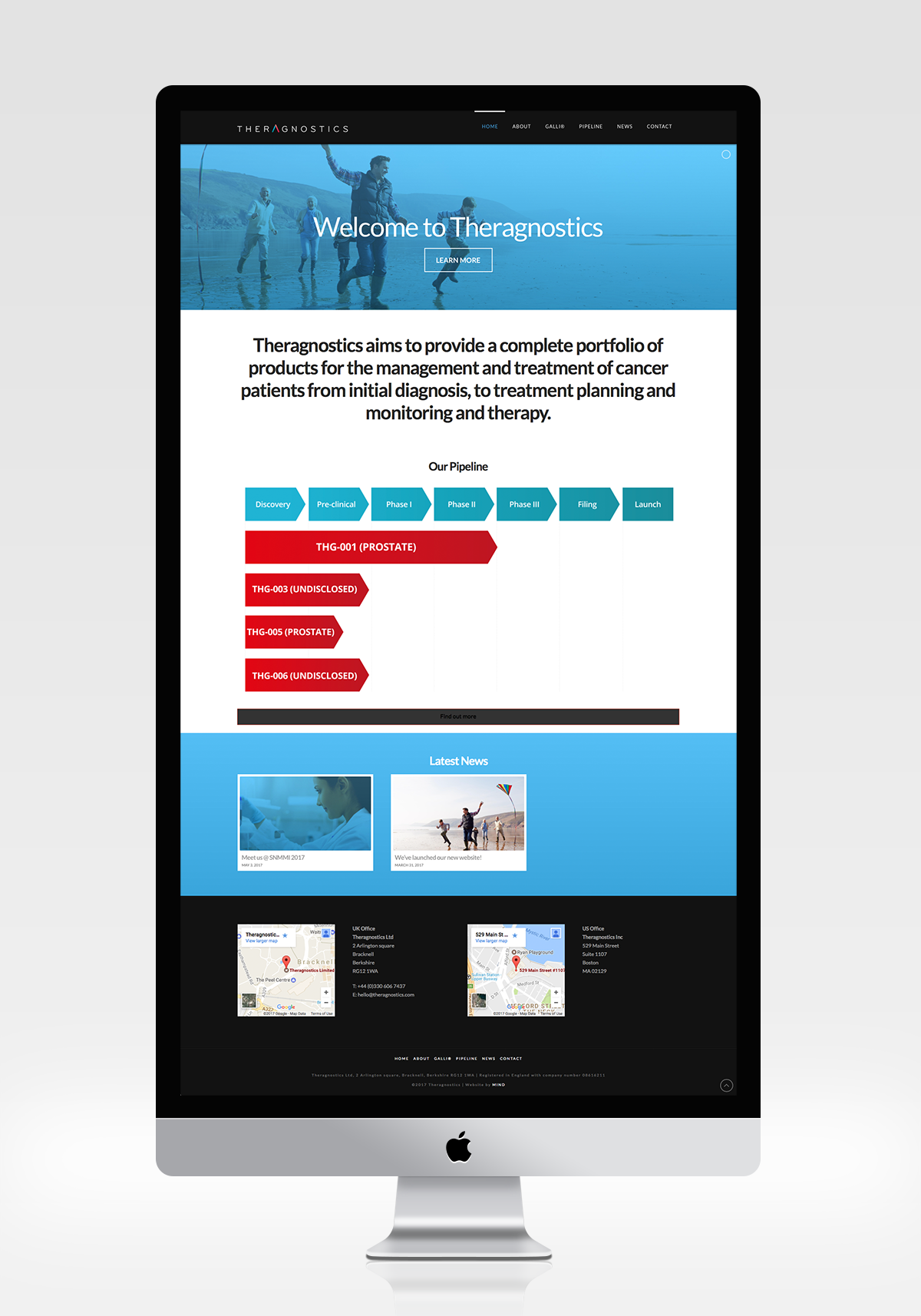 Theragnostics Website Design Full Desktop View