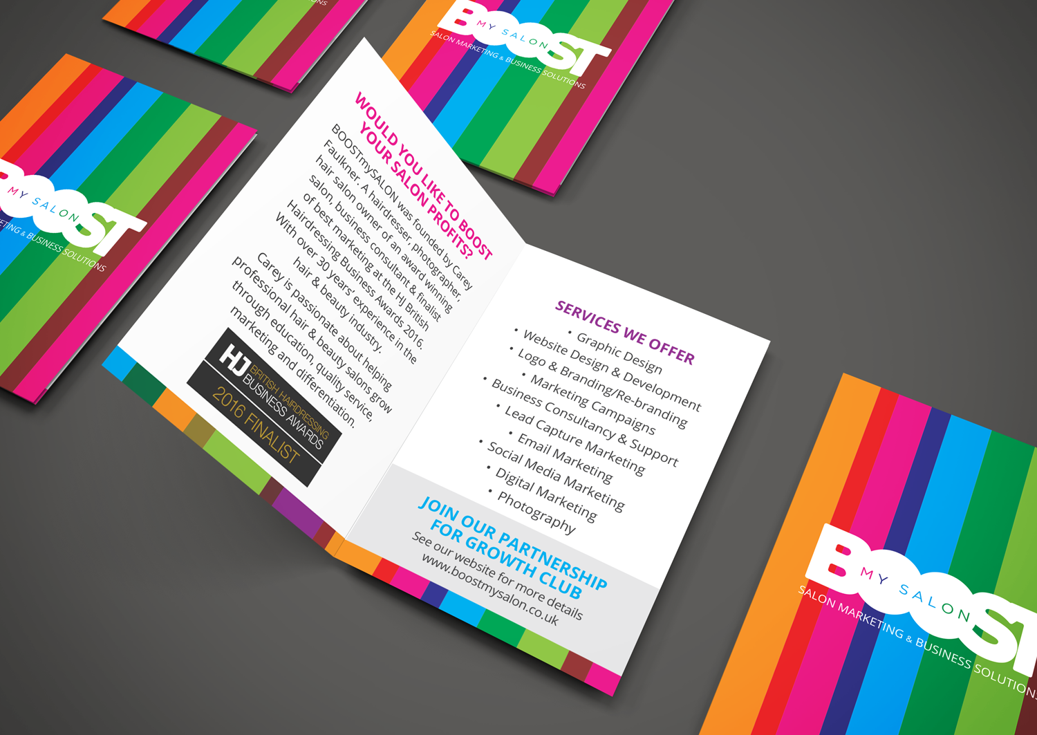 Flyer design and print to promote the BOOSTmySALON service to local hairdressers