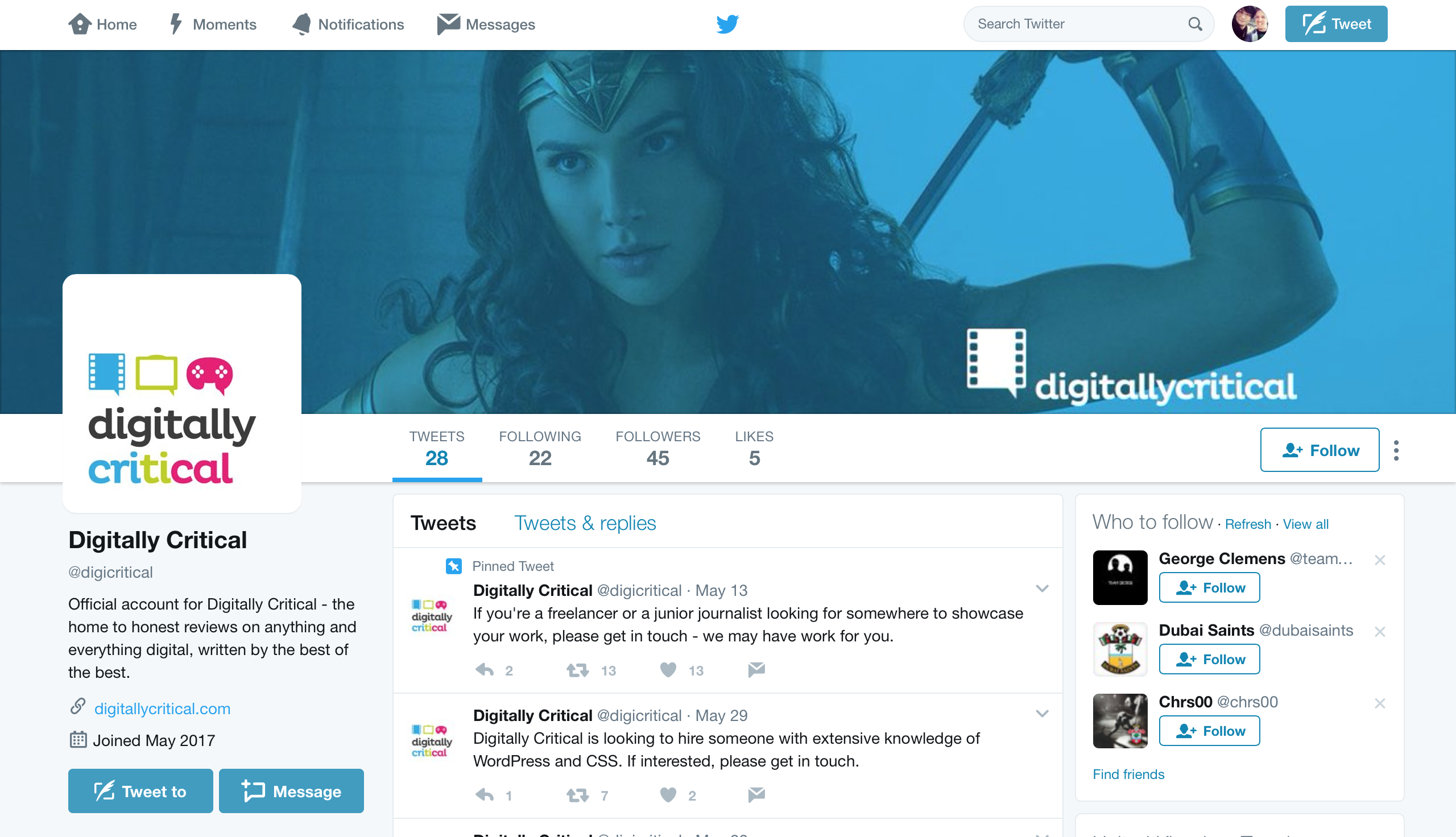 Digitally Critical Twitter Page with New Graphics