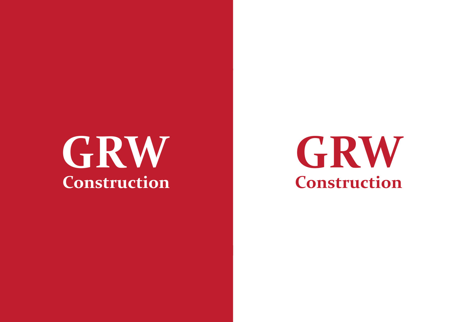 GRW Construction new logo design in colour and white knock out