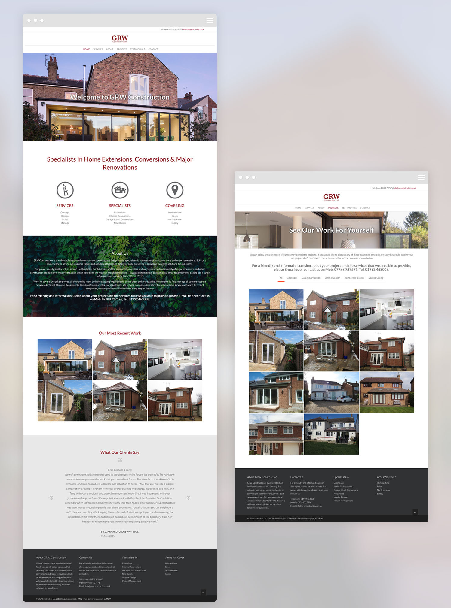 GRW Construction new website design full page views
