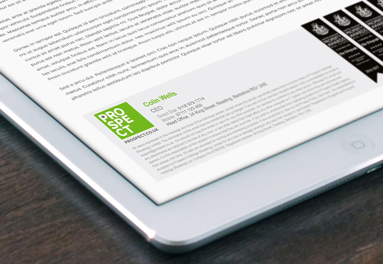 Prospect rebranded email footer