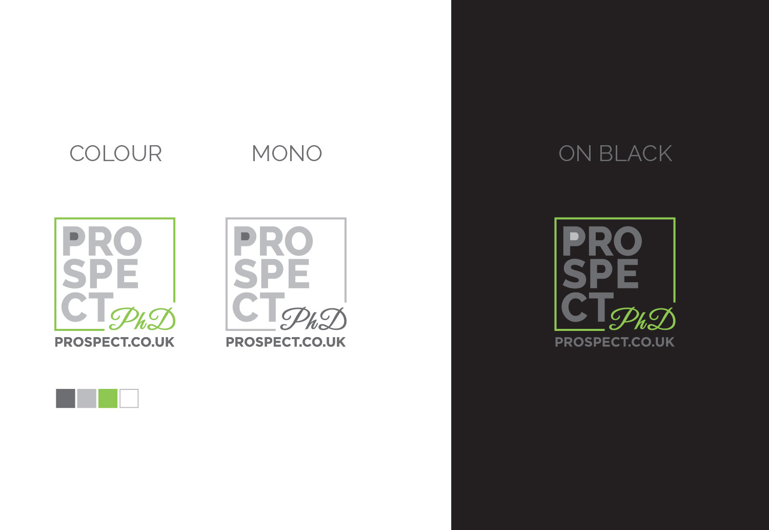Final logo concepts for the Prospect PHD (Prospect Homes of Distinction) brand