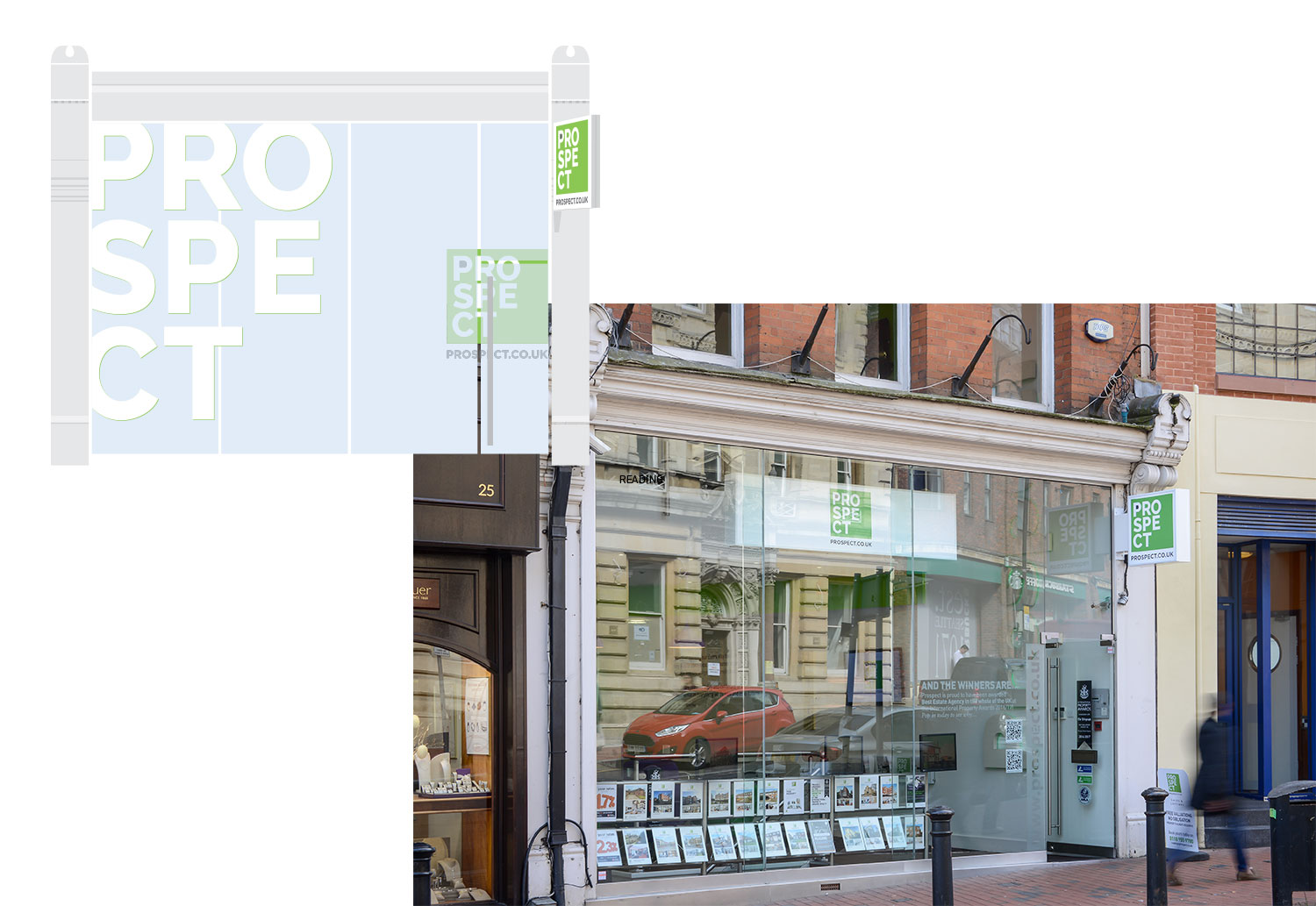Prospect Estate Agents' office in central Reading - concept and final