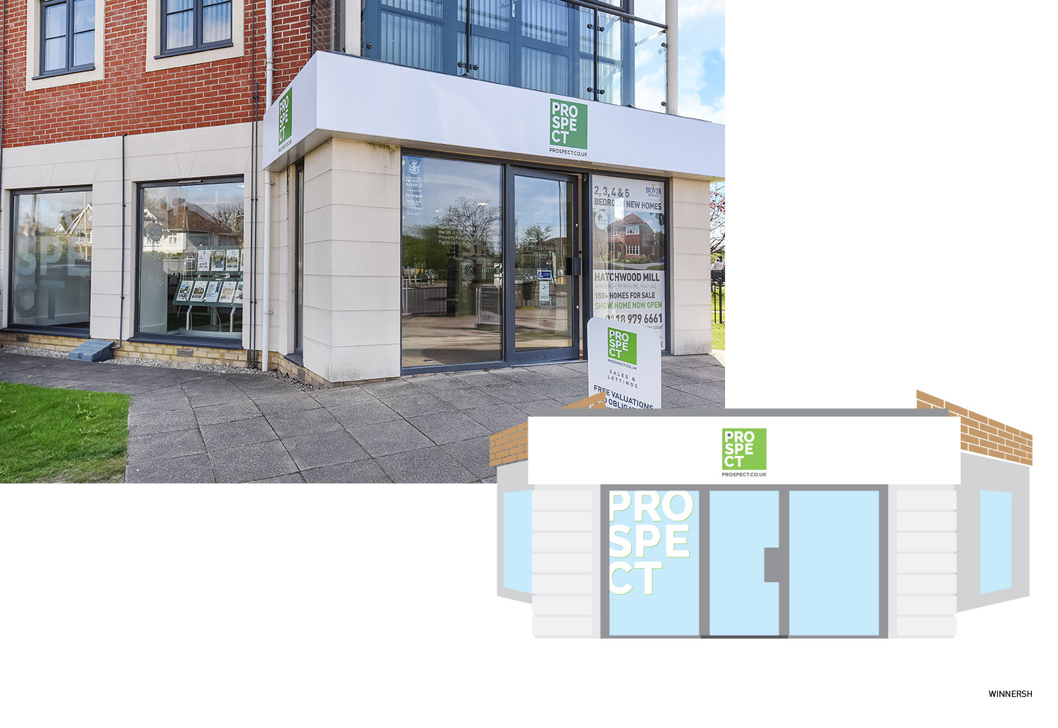 Prospect Estate Agents' office in Winnersh - concept and final
