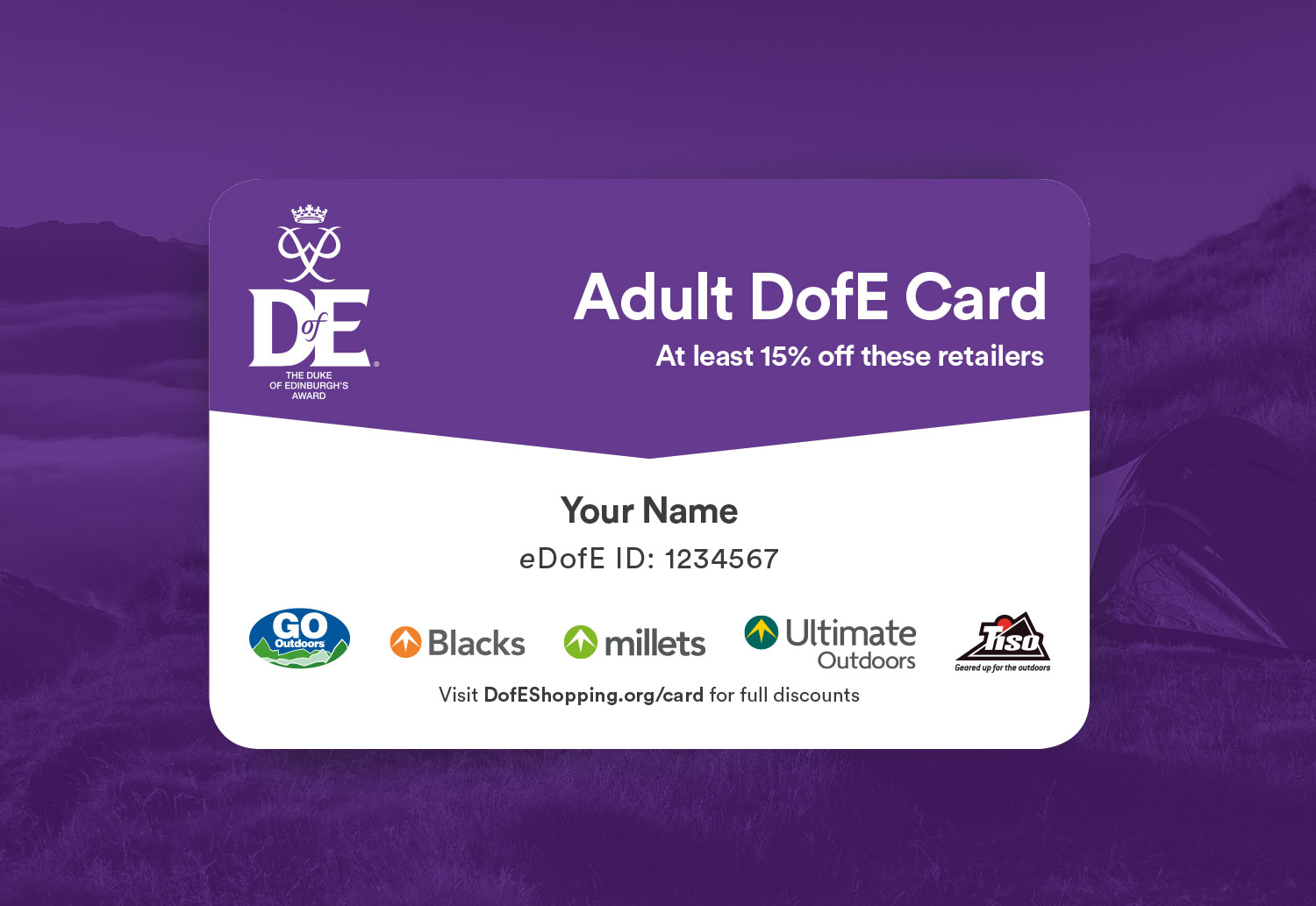DofE Adult Reward Card Design
