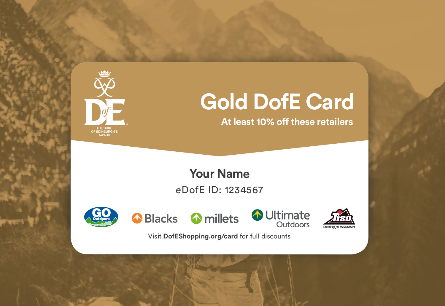 DofE Gold Reward Card Design