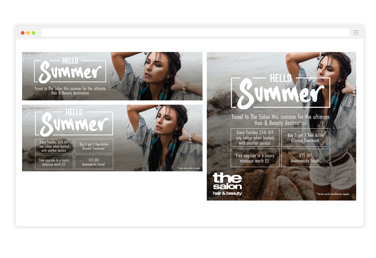 The Salon Hello Summer Campaign Graphics for Social Media