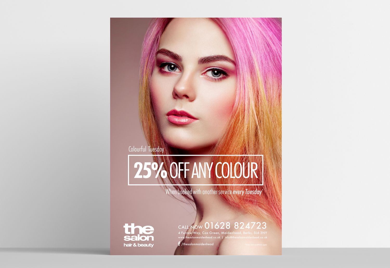 The Salon A1 poster design for an offer on hair colour