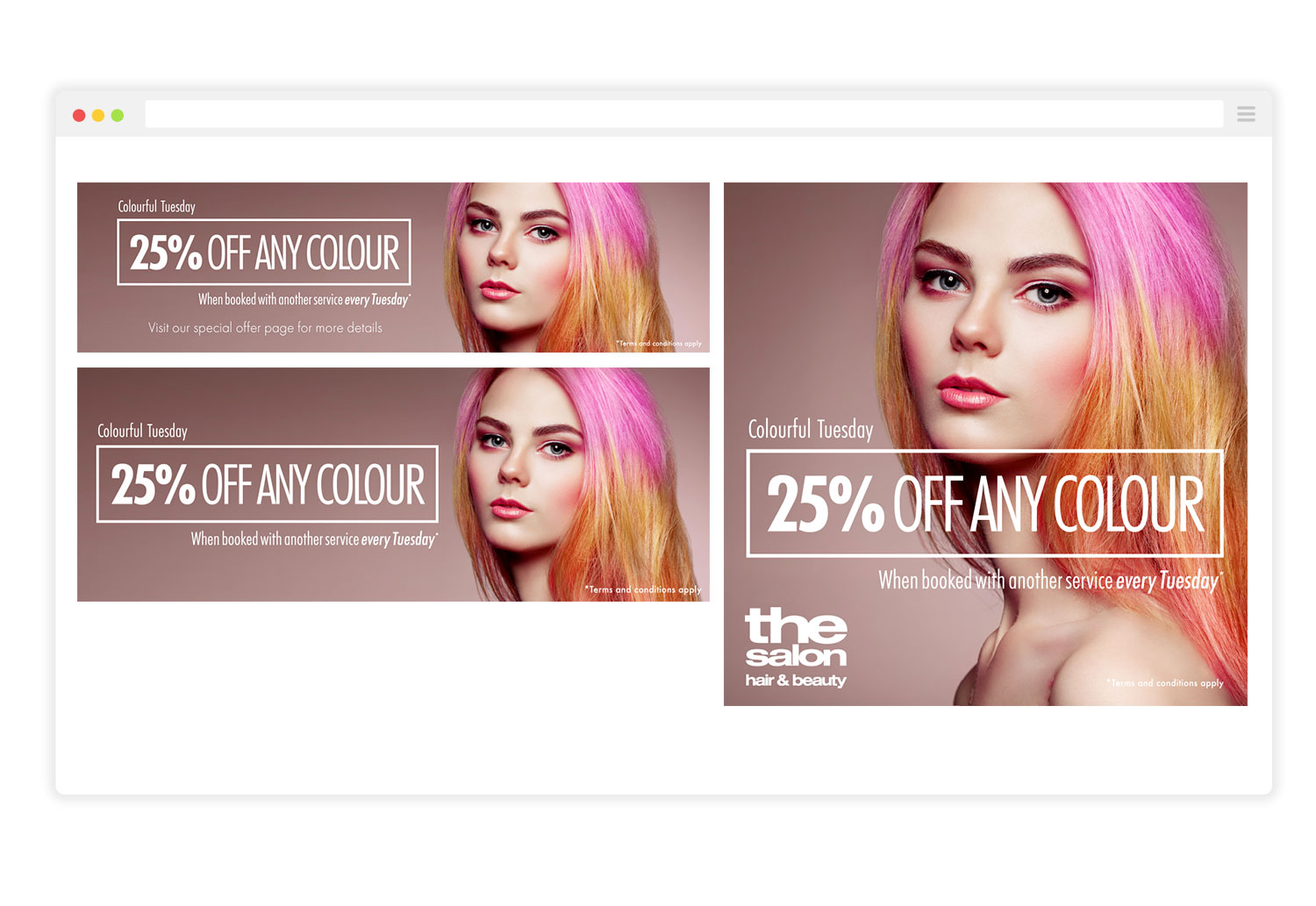 The Salon Colour Offer Campaign Graphics for Social Media