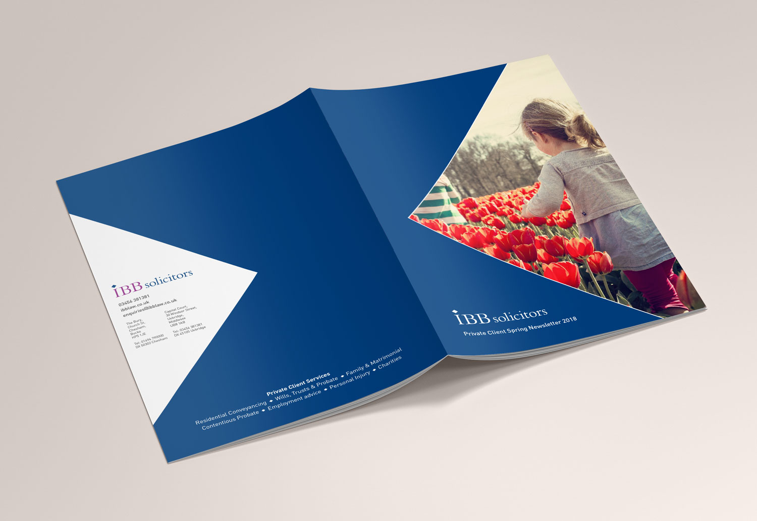 IBB Solicitors Spring Newsletter cover wrap layout