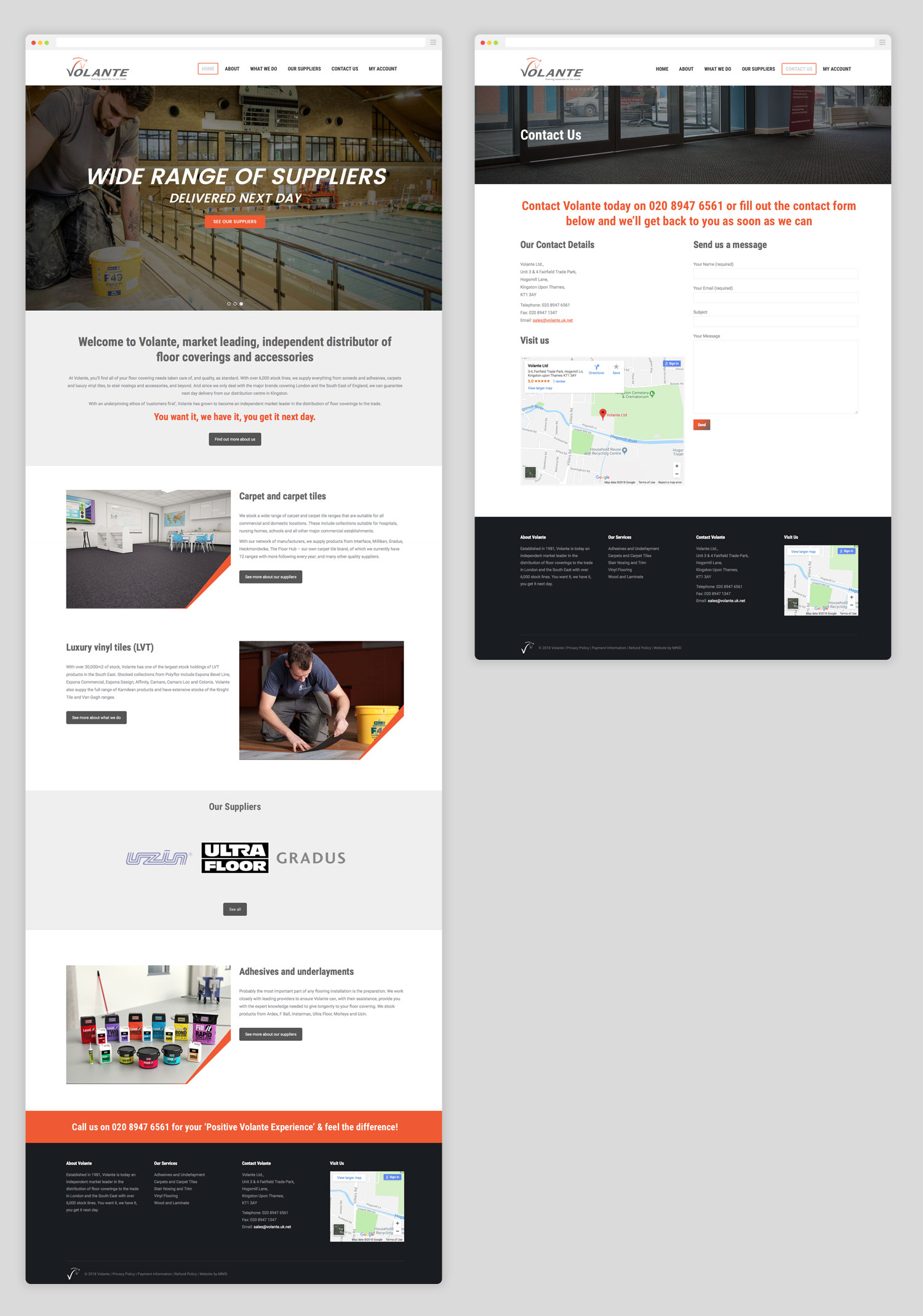 Full page examples of the Volante website