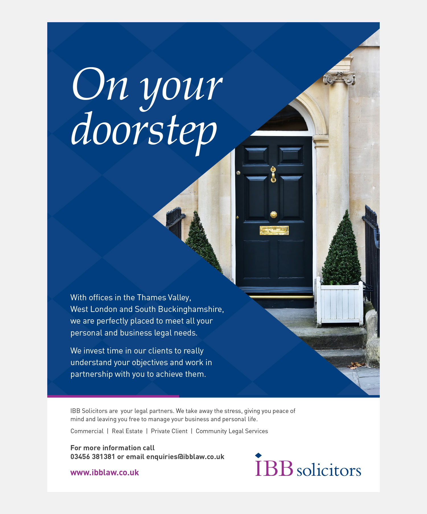 IBB Solicitors Advertising - On Your Doorstep Print Advert