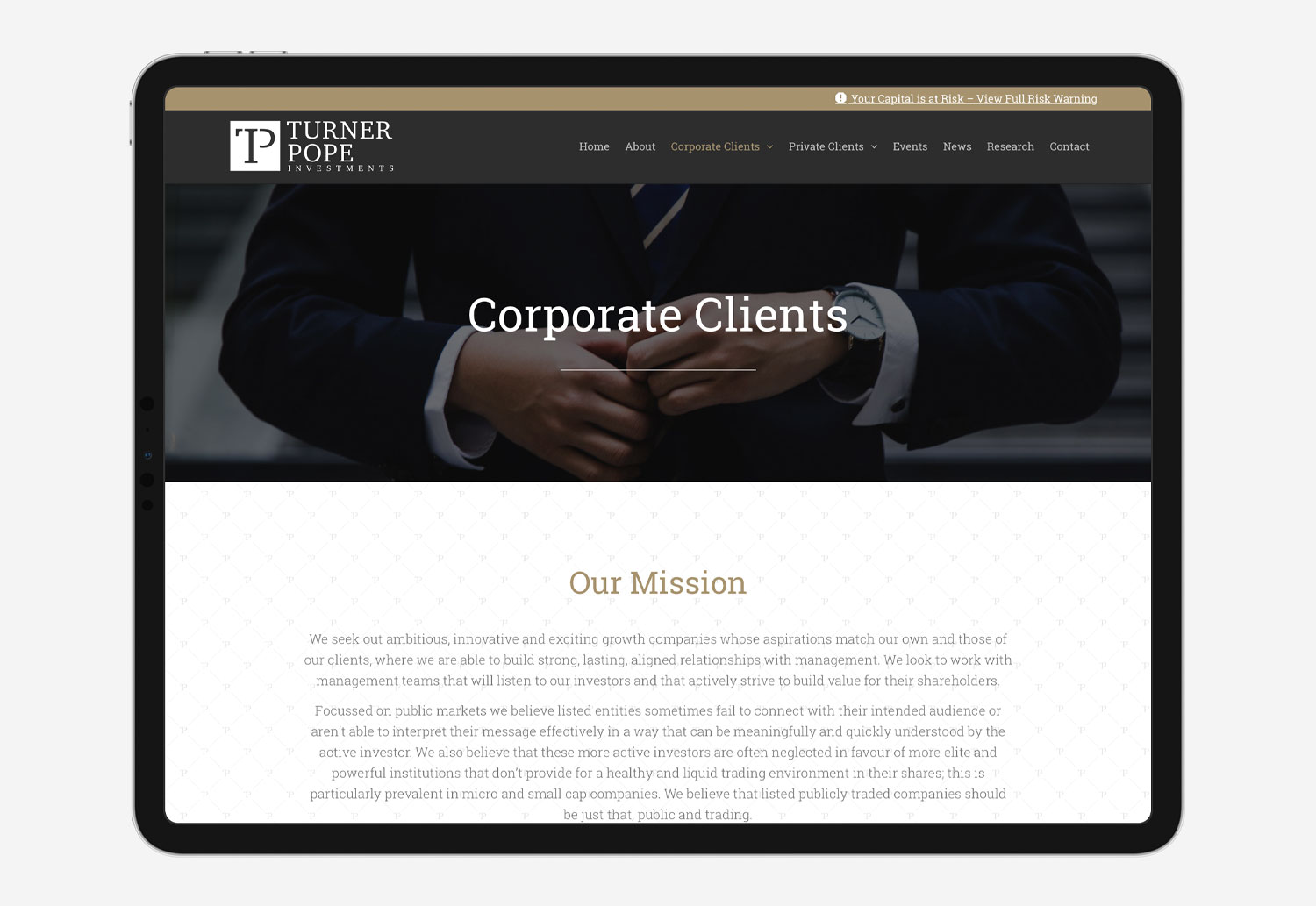 My Name is Dan | Turner Pope Investments | Corporate Clients Page