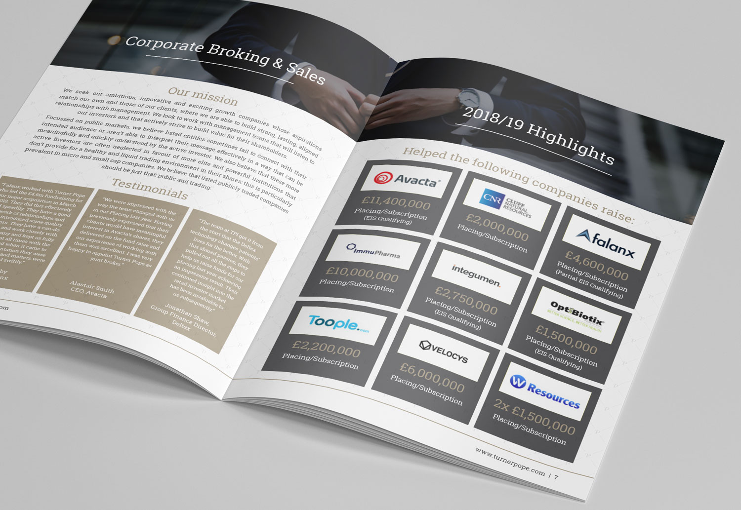 Turner Pope Investments | Brochure Inside Spread Design