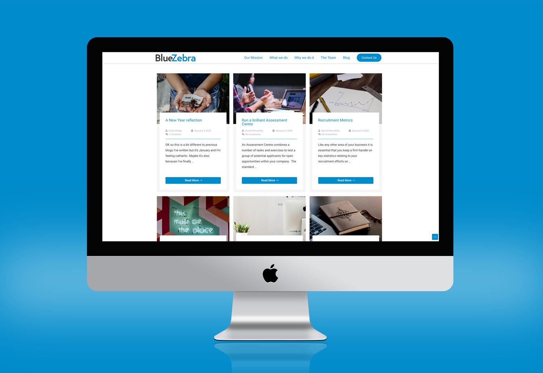 BlueZebra Blog Page on Website