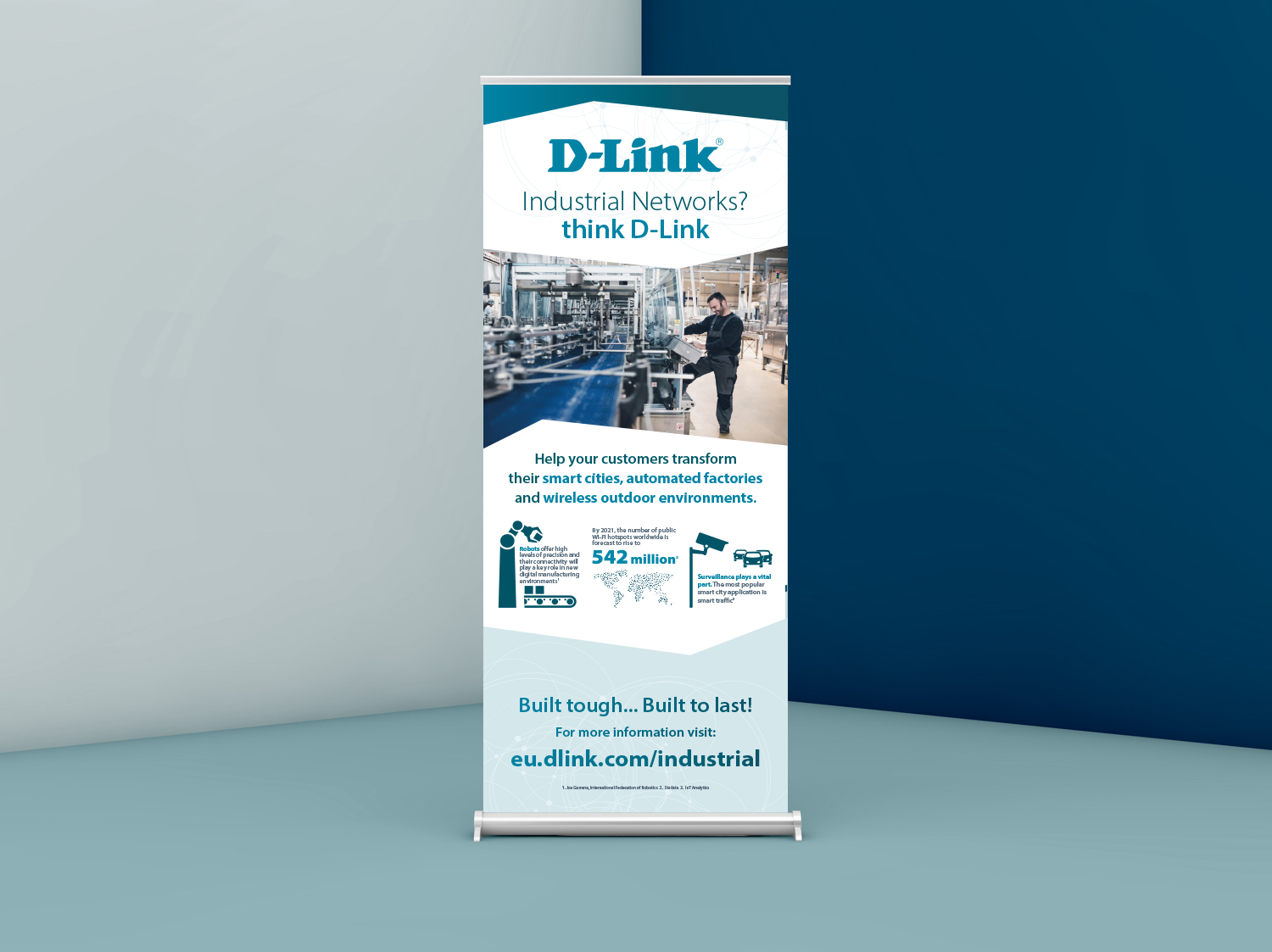 Pull Up Exhibition Banner for D-Link Industrial