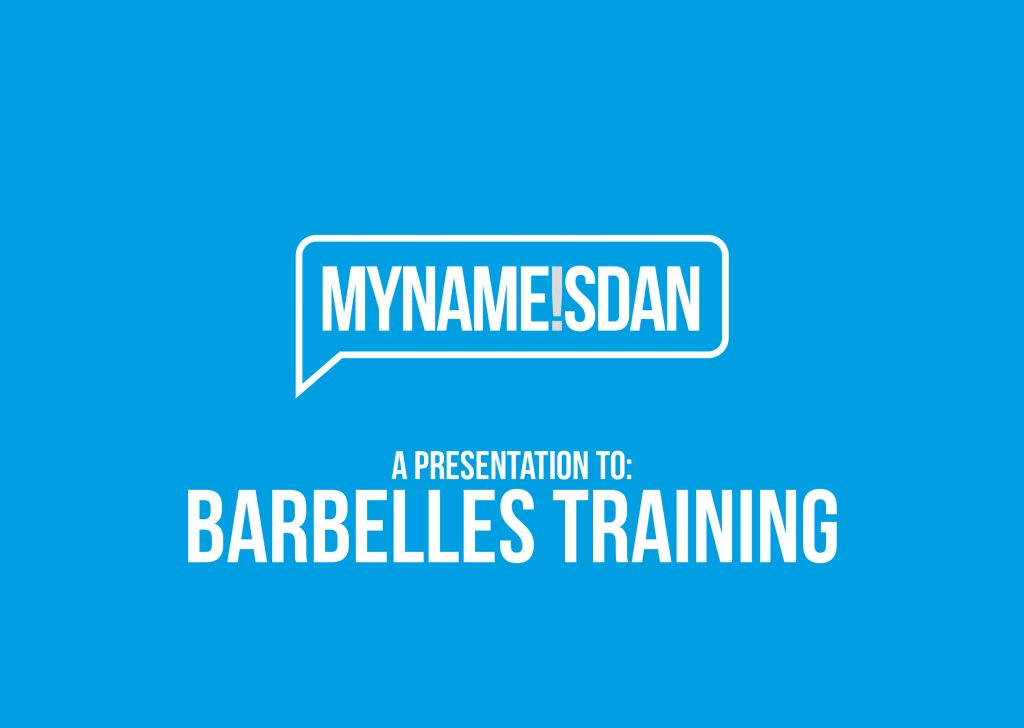 My Name is Dan Logo Presentation for The Barbelles Training